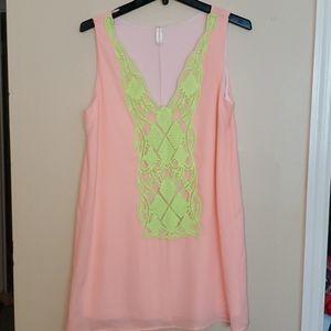 Fashionomics  SUPER CUTE PINK GREEN DRESS  Med.